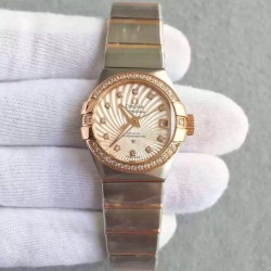 Replica Omega Constellation Ladies 123.25.27.20.58.001 27MM EF Stainless Steel & Rose Gold Champagne & Diamonds Dial Swiss 8520