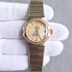 Replica Omega Constellation Ladies 123.25.27.20.57.003 27MM EF Stainless Steel & Rose Gold Red & Diamonds Dial Swiss 8520