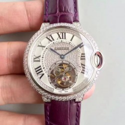 Replica Ballon Bleu De Cartier Flying Tourbillon HPI00716 39MM TF Stainless Steel & Diamonds Diamonds Dial Swiss 9452MC