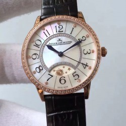 Replica Jaeger-LeCoultre Ladies Rendez-Vous Night & Day Large 3612420 38MM N Rose Gold & Diamonds Pearl Dial Swiss 898D/1