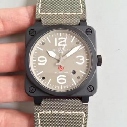 Replica Bell & Ross Aviation Military Type BR 03-92 ZF PVD Beige Dial M9015