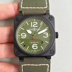 Replica Bell & Ross Aviation Military Type BR 03-92 ZF PVD Green Dial M9015