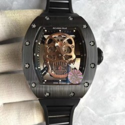 Replica Richard Mille RM052 KV Black Ceramic Gold Skull Dial M6T51