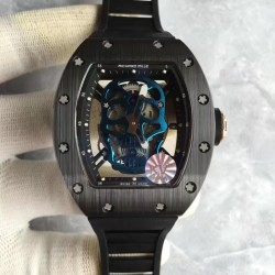 Replica Richard Mille RM052 KV Black Ceramic & Rose Gold Blue Skull Dial M6T51