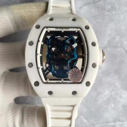 Replica Richard Mille RM052 KV White Ceramic & Rose Gold Blue Skull Dial M6T51