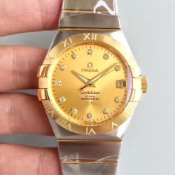 Replica Omega Constellation 123.20.38.21.58.001 38MM SSS Stainless Steel & Yellow Gold Champagne Dial Swiss 8500