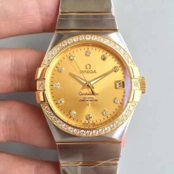 Replica Omega Constellation 123.25.38.21.58.001 38MM SSS Stainless Steel & Yellow Gold Champagne Dial Swiss 8500