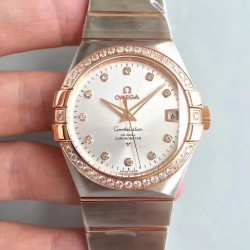 Replica Omega Constellation 123.25.38.21.52.001 38MM SSS Stainless Steel & Rose Gold Rhodium Dial Swiss 8500