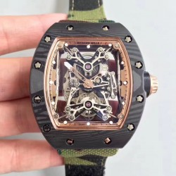 Replica Richard Mille RM50-27-01 NTPT KV Black Forged Carbon Gold & Skeleton Dial M9015
