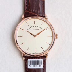 Replica A. Lange & Sohne Saxonia Thin 211.032 V6 Rose Gold Yellow Dial M9015