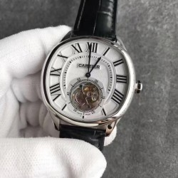 Replica Drive de Cartier Tourbillon W4100013 TF Stainless Steel White Dial Swiss 9452MC