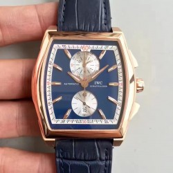 Replica IWC Da Vinci Chronograph IW376402 ZF Rose Gold Blue Dial Swiss 89361
