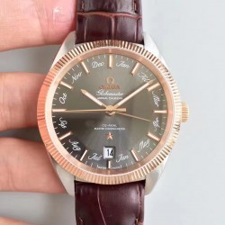 Replica Omega Globemaster Annual Calendar 130.23.41.22.06.001 OM Stainless Steel & Rose Gold Anthracite Dial M9015
