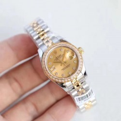Replica Rolex Lady Datejust 28 279383RBR 28MM N Stainless Steel & Yellow Gold Champagne Dial Swiss 2671